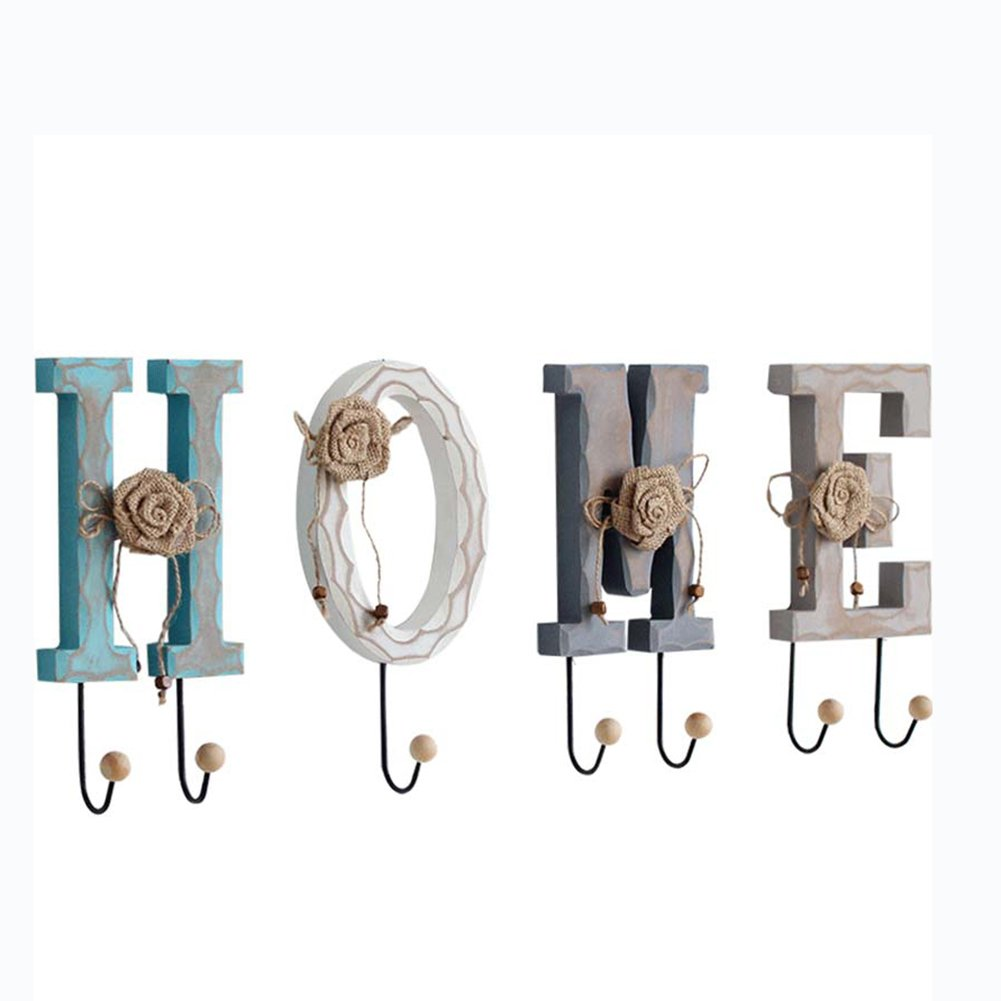 LIANGLIANG Wall Mounted Coat Rack Simple and Creative Letter and Number Hook The Hanger Solid Wood High 25cm 4 Kinds of Models Optional (Size : #B)