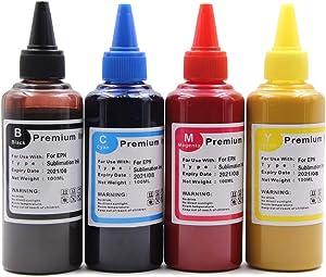 Topcolor Sublimation Ink Bottles, 400ML Sublimation Refillable Ink Cartridge for Workforce WF7720 WF7710 WF7210 WF3640 WF2760 C88 XP-446 SG400 SG800 Inkjet Printer (B/M/Y/K, 4 Pack)