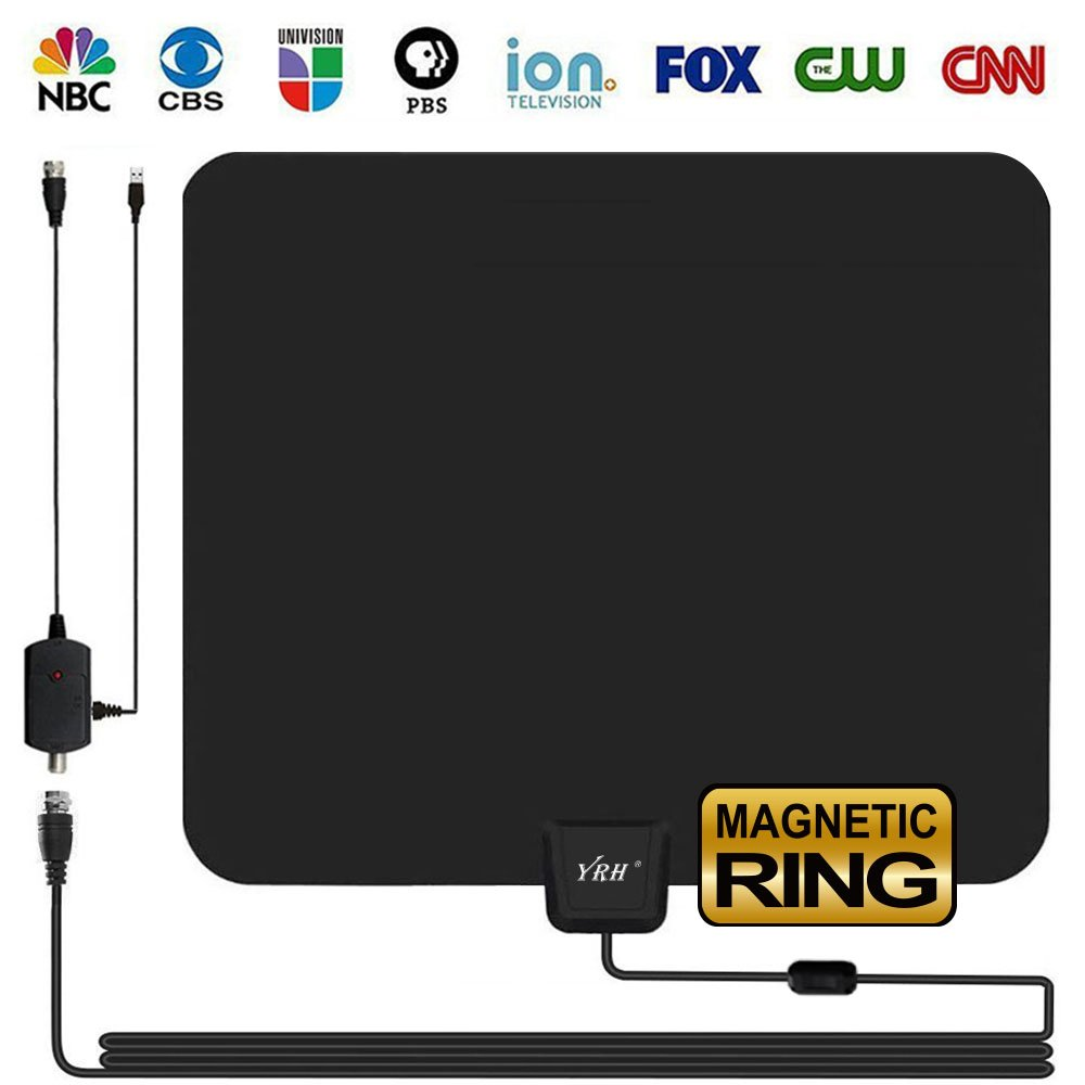 HD TV ANTENNA INDOOR, YRH Updated 2018 Newest Digital 4K/1080P HDTV Antennas With Magnetic Ring To Lock Signal and Amplifier Booster For Smart TV, Free View More High-Definition channels (Black) by YRH