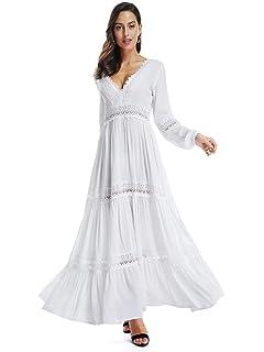 e41a513f59d SUNJIN ARCO Women's Sexy Deep V Neck Elegant Lace Backless Long Sleeve Boho White  Maxi Dress