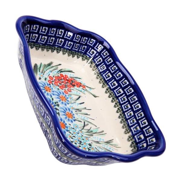 Polish Pottery Ceramika Boleslawiec 1208/169 7-3/4 by 6-1/8-Inch Fala Baker, Royal Blue Patterns, Small