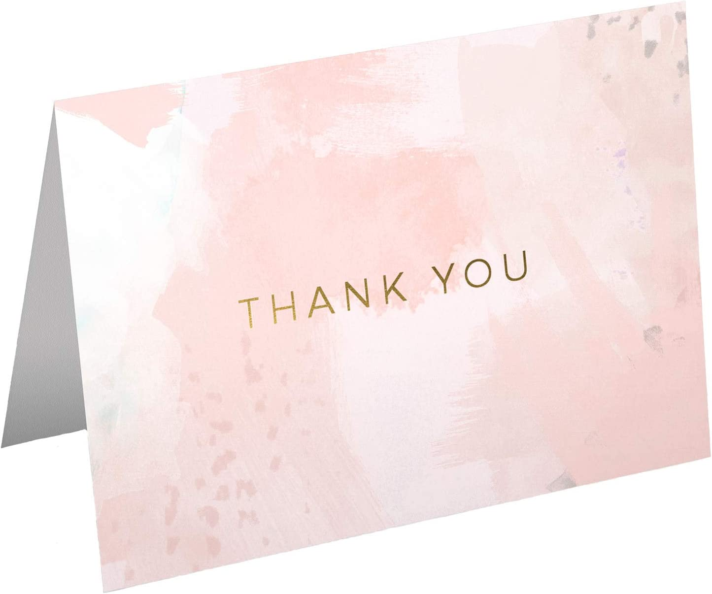 30 Water Color Soft Coral Pink with Gold Foil Thank You Cards - includes white envelopes and card box - perfect for weddings, graduation, birthdays, baby showers, business, engagements - blank inside