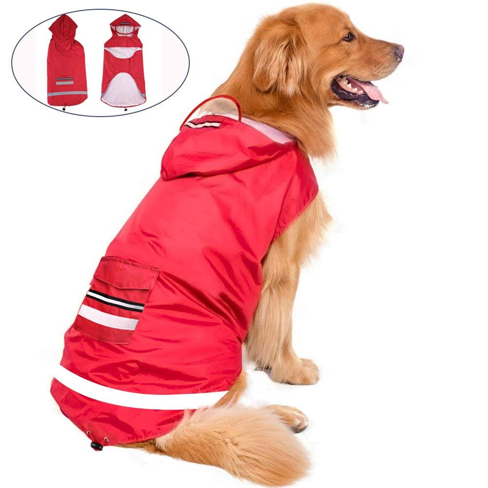 Reflective Raincoat for Dog and Cat Clothing,Hooded Dog Raincoat,Large Dog Raincoat Adjustable Pet Water Proof Clothes