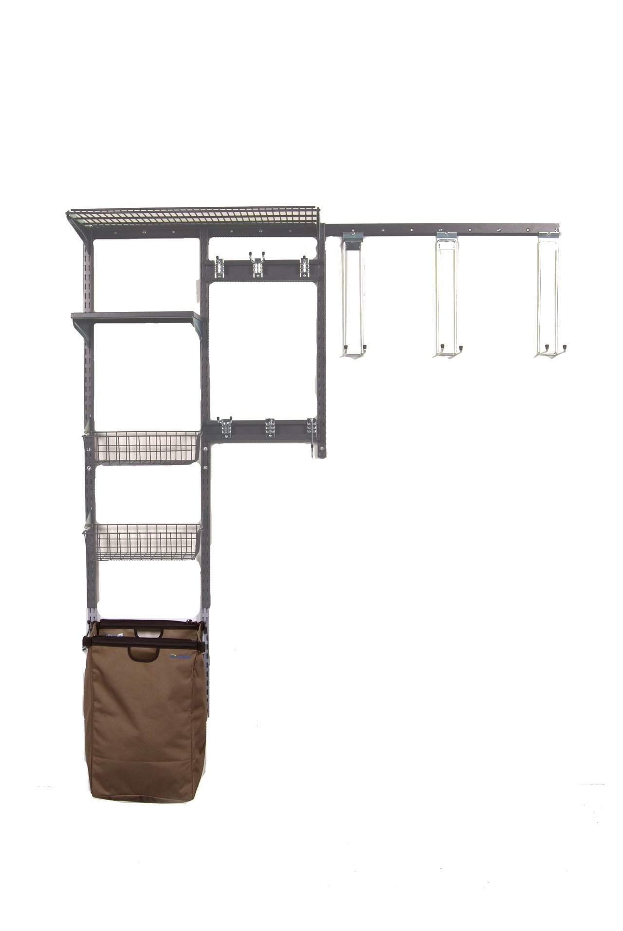 Triton Products 1660 Storability Shed Wall Mount Storage System 66-Inch L by 63-Inch H with Heavy Duty Hanging Hooks, Shop/Rag Bag, Wire Shelf, 2 Wire Baskets, Steel Shelf and Hardware