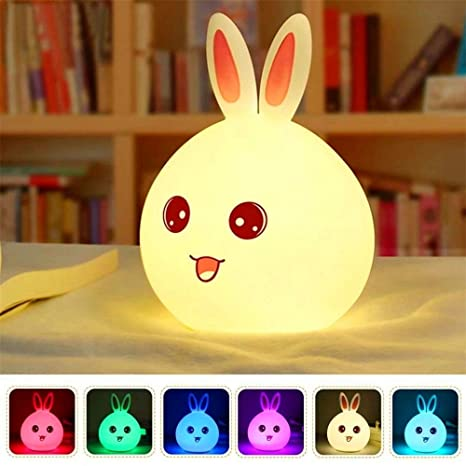 Luz Nocturna Infantil Recargable LED Mesilla de Noche Lámpara de Silicona y Portátil con Luces de Colores para Bebé Niños Niñas, Dormitorio y ...