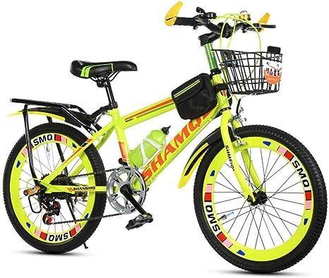 Bicicletas masculinas y femeninas bicicleta de montaña bicicleta estudiante niños bicicleta bicicleta 20 pulgadas bicicleta verano viaje bicicleta velocidad ajustable doble freno-20 pulgadas_Amarillo: Amazon.es: Deportes y aire libre