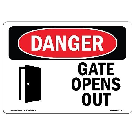 Amazon.com: Señal de peligro OSHA – Puerta se abre | Señal ...