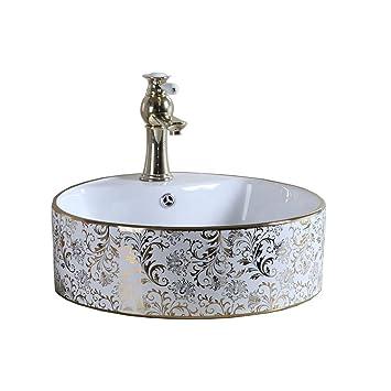 Waschbecken Amazon.Waschbecken Keramik Gold Muster Hohe Qualität Wasserhahn