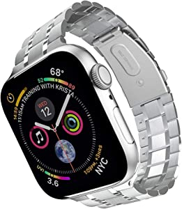 Compatible with Apple Watch Band 38mm 40mm 42mm 44mm, Upgraded Version Solid Stainless Steel metal Wristband Replacement for iWatch Series 5/4/3/2/1 (Silver, 42mm/44mm)