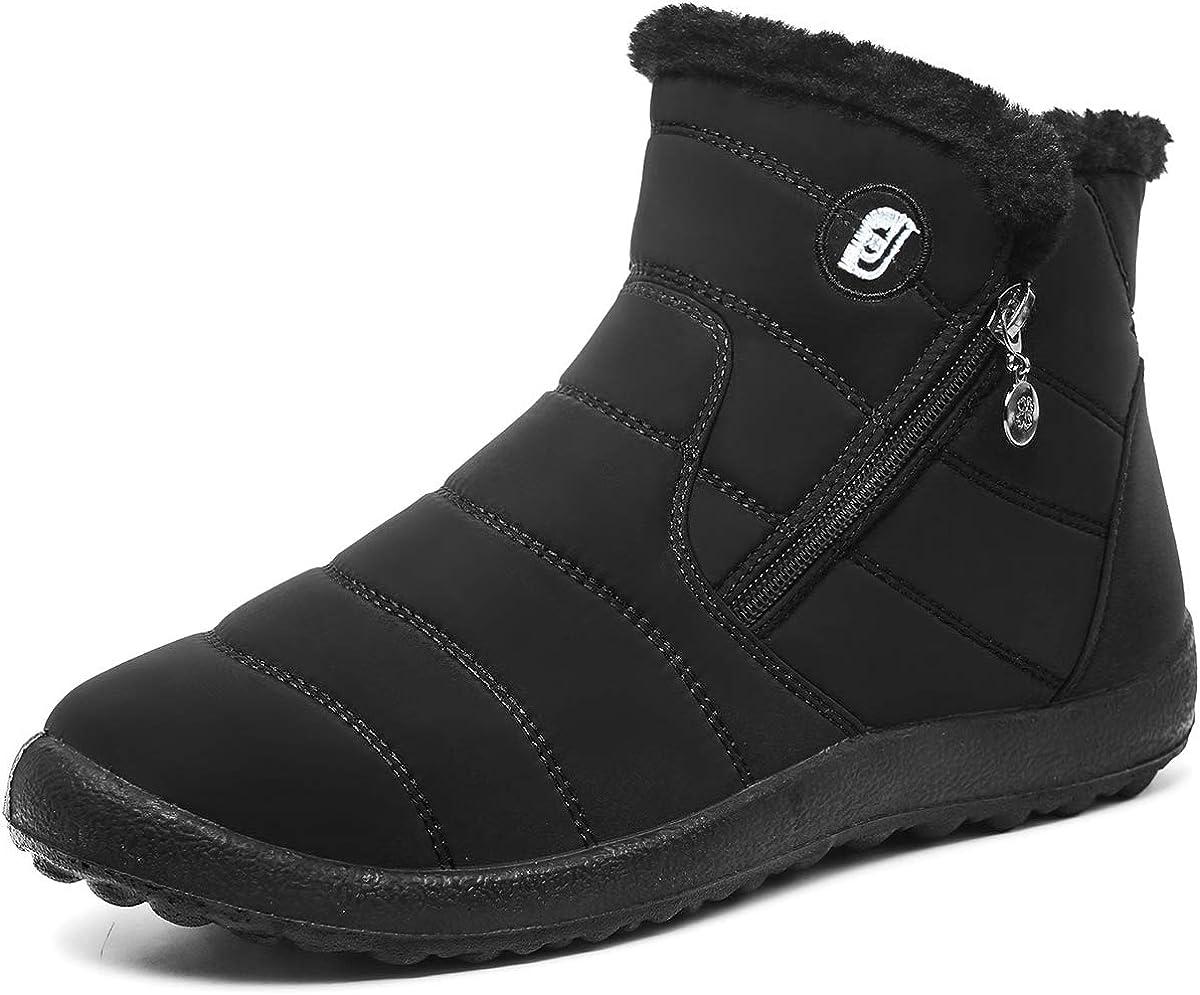 Deals Winter Boots for Women Snow Boots Women Platform Warm Winter Boo 7, Black