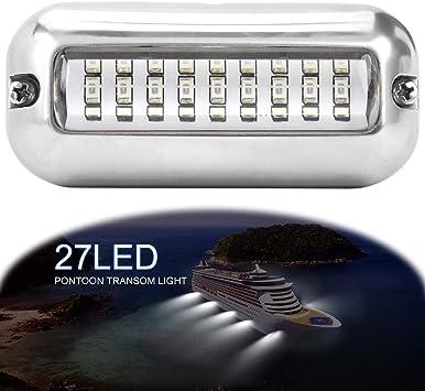 50W 27 LED Subacquea Pontoon Marine Barca Transom Luce Impermeabile Blu Lampada