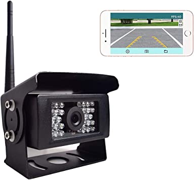 12V-24V Digital WiFi Cámara Trasera, Vista Trasera Cámara de Coche IP69K Impermeable, 28 IRs Visión Nocturna Compatible con iPhone Android, ...