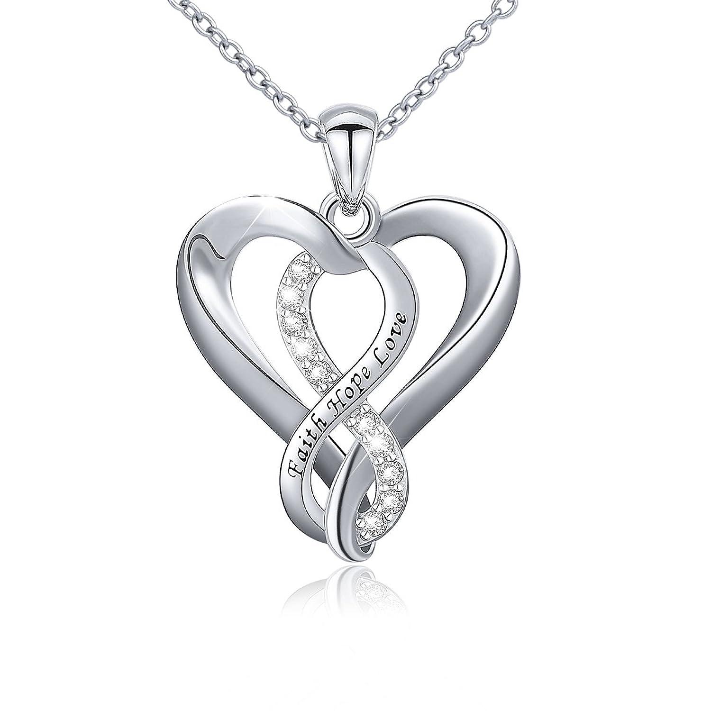 925 sterling silver infinity faith hope love heart pendant. Black Bedroom Furniture Sets. Home Design Ideas