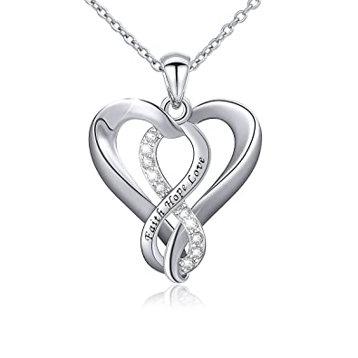 Amazon 925 sterling silver infinity faith hope love heart 925 sterling silver infinity faith hope love heart pendant necklace for women aloadofball Image collections