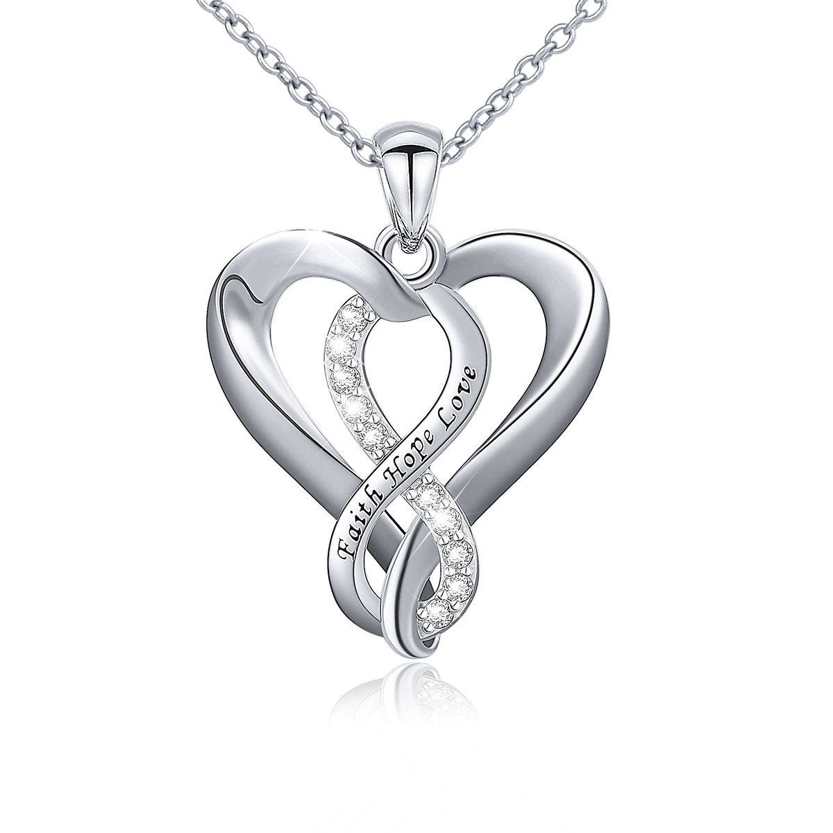 Faith Necklace 925 Sterling Silver Faith Hope Love Infinity Heart Pendant Necklace for Women Girls,18''