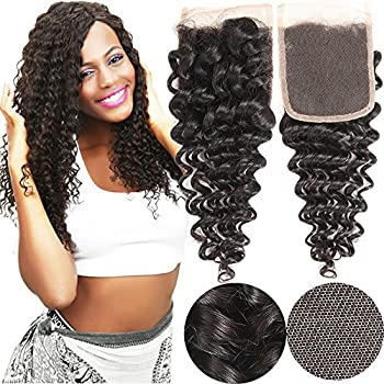 VRHOT 10 inch Lace Closure Deep Wave 4x4'' Free Part Lace Closure Brazilian Virgin Remy Human Hair 100% Unprocessed Natural Color Soft Silky Hair Products for Black Women 8''-20'' (10 inch)