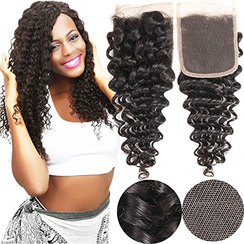 VRHOT 14 inch Lace Closure Deep Wave 4x4'' Free Part Lace Closure Brazilian Virgin Remy Human Hair 100% Unprocessed Natural Color Soft Silky Hair Products for Black Women 8''-20'' (14 inch) (Spanish Wave)
