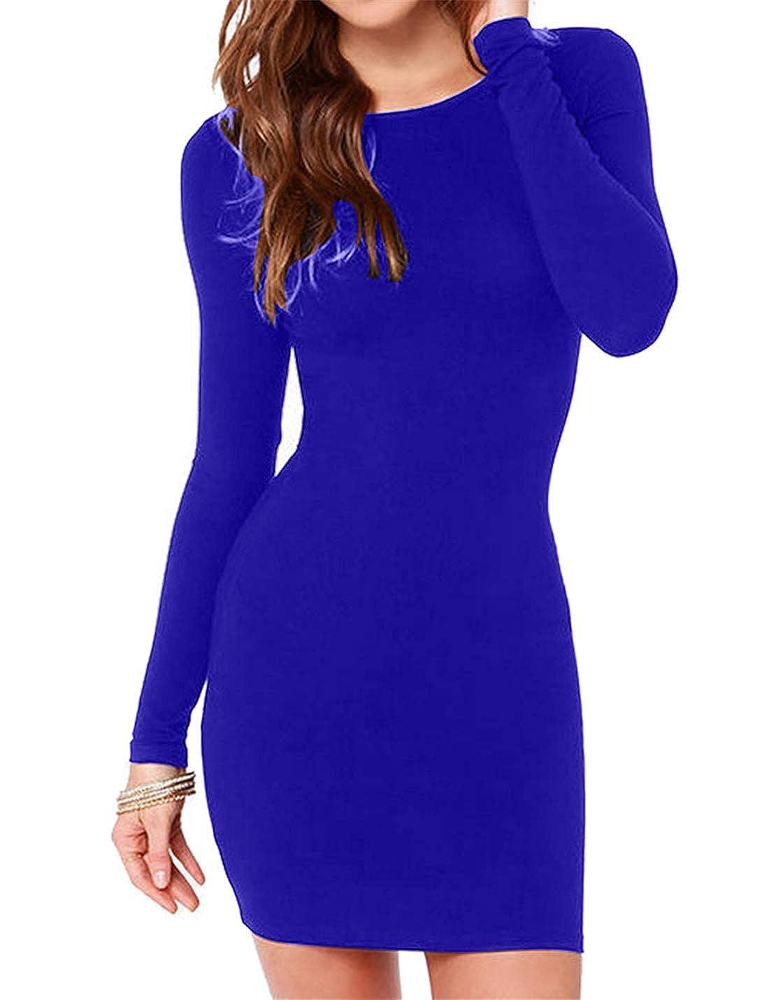 bluee Hioinieiy Women's Casual Crew Neck Long Sleeve Bodycon Short Dress