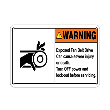 Amazon Com Warning Exposed Belt Drive Turn Off Before Servicing