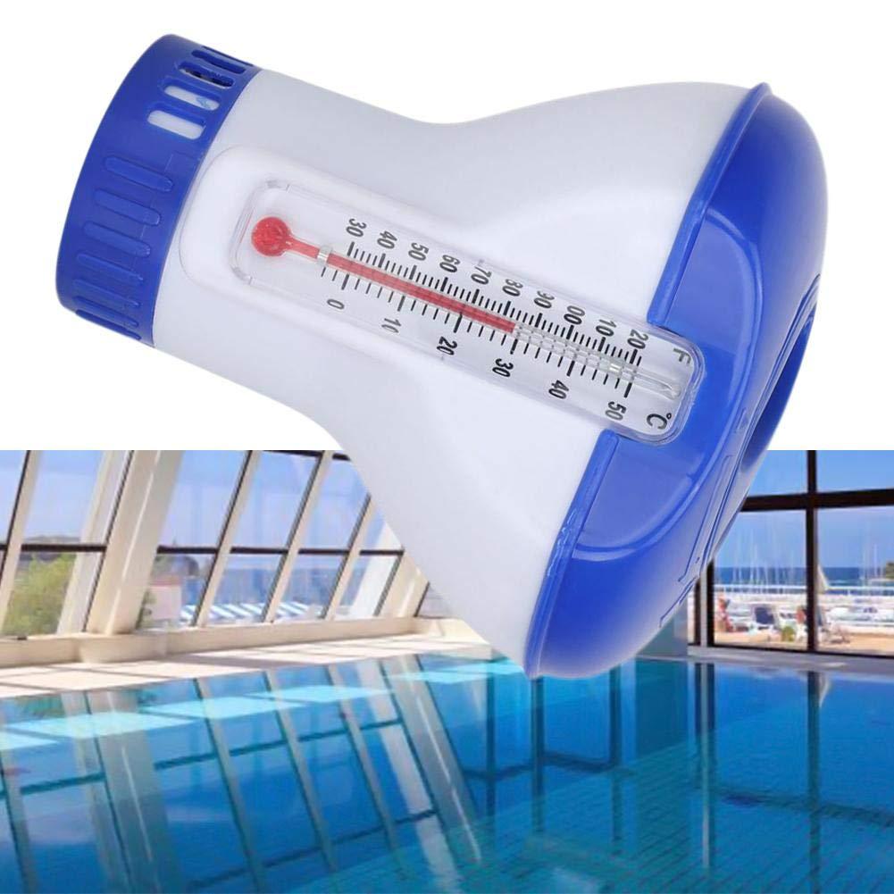 Geeignet F/ür 1,5 Zoll Chlortablette Dosierschwimmer Mit Integriertem Thermometer DEQUATE Pool Chlorspender Geeignet F/ür Alle G/ängigen Pools
