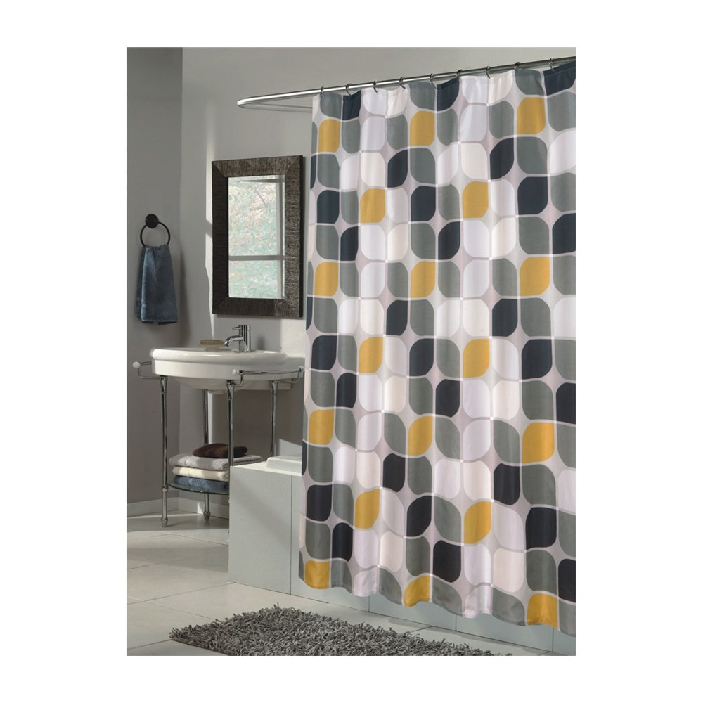 amazoncom carnation home fashions metro extra long printed fabric shower curtain 70inch by 84inch home u0026 kitchen