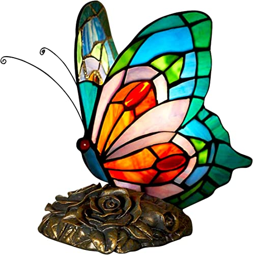 FUMAT Bedside Table Lamp LED E26 Bulb Tiffany Blue Fairy Stained Glass Shade ON Off Switch Desk Lamp Butterfly Night Light