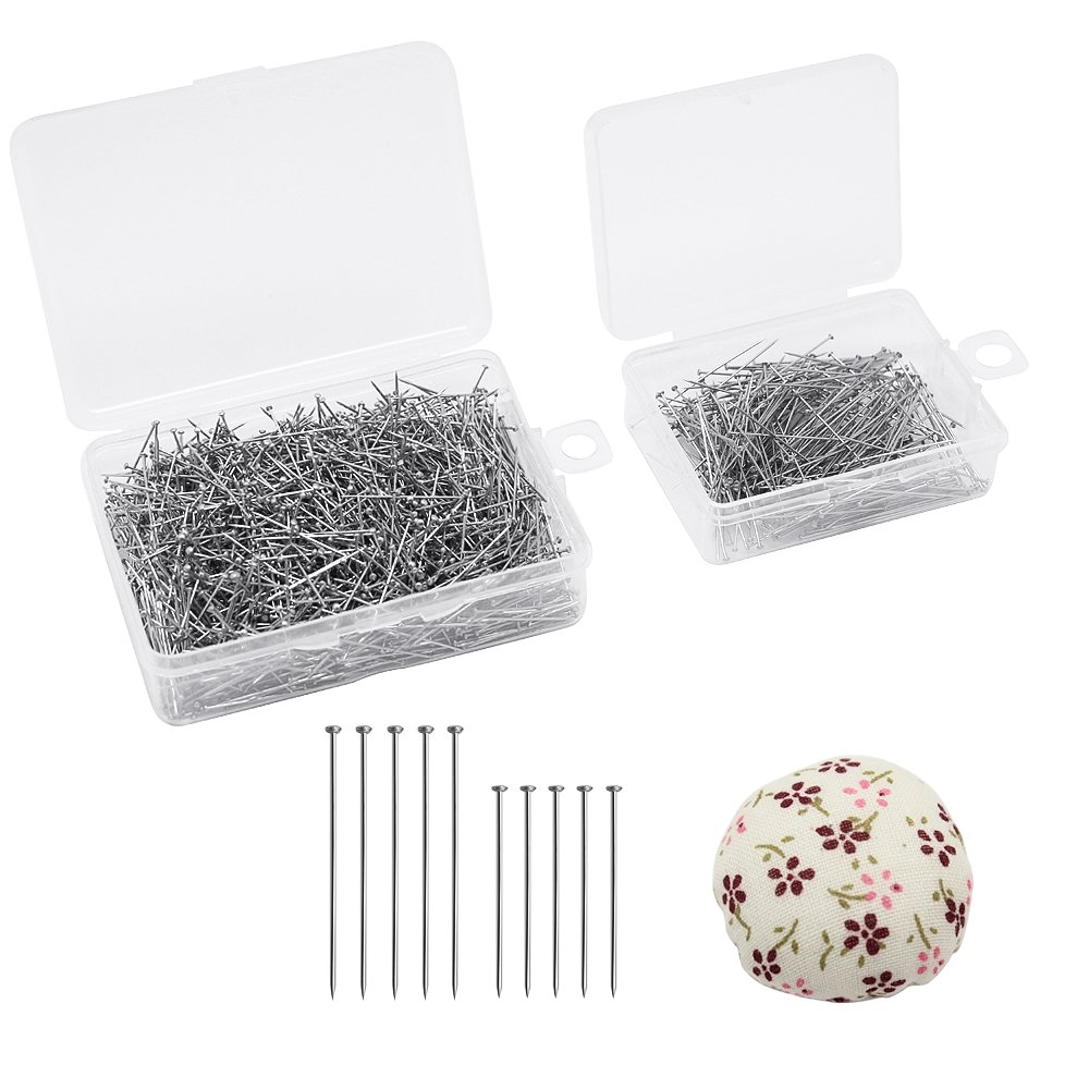 Dreamtop 1900pcs Stainless Steel Head Pins Dressmaker Pins with Boxes and Mini Pincushion for Jewelry Making Sewing Craft, 26mm and 35mm 4337010384