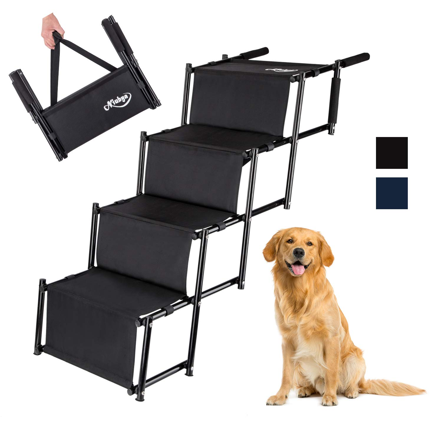 Niubya Folding Car Dog Steps Stairs, Lightweight Accordion Portable Rustproof Metal Frame 4 Pet Steps Ladder with Durable Waterproof Ballistic Nylon, Great for Car, Truck, SUV and High Bed, Black