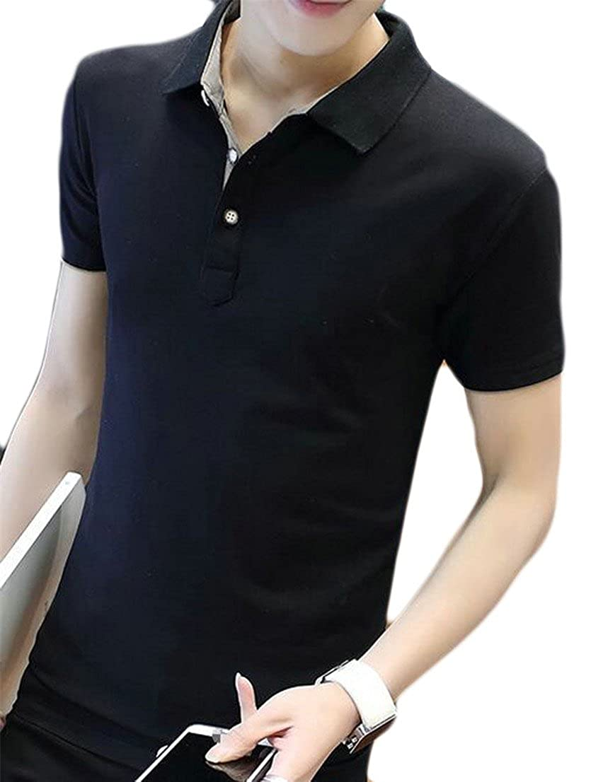 Wopop Mens Lapel Short Sleeve Slim Summer Casual Polo Cotton T-Shirt