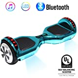 "VEEKO Hoverboard Self Balancing Hoverboard UL 2272 Certified with Bluetooth Speaker RGB LED Light All-Terrain 6.5"" Alloy Wheels 250W Dual Motor Solid Rubber Tires Fast Charge Metallic Chrome Color"