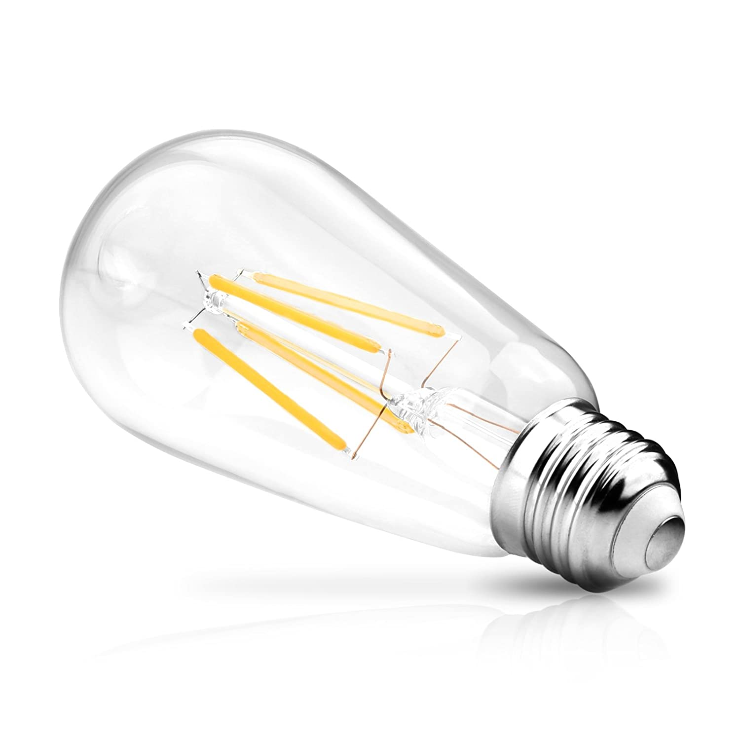 E26 Medium Base Ascher Vintage LED Edison Bulbs ST58 Antique LED Filament Bulbs Dimmable 6W 800lm Clear Glass Equivalent 60W Warm White 2700K Pack of 6