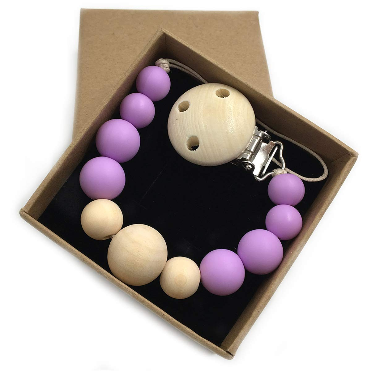 KH150-1 Wendysun Baby Silicone Teether Wooden Pacifier Clip Newborn Baby Girl//Boy Soother Clip Chew Beads DIY Natural Baby Teething Grasping Toy