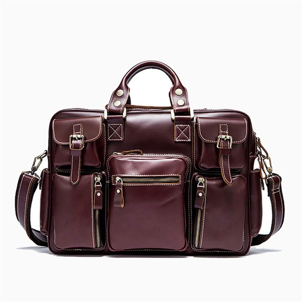旅行ダッフルバッグ革メンズバッグ大容量旅行バッグ近距離旅行メンズハンドバッグ荷物バッグ多機能旅行バッグ 旅行用ハンドバッグ (色 : ワインレッド)  ワインレッド B07QLSWGV5