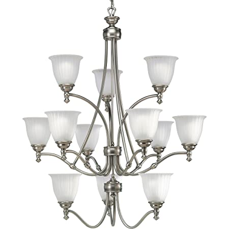 Progress Lighting P4510-81 12-Light Three-Tier Renovations Chandelier, Antique Nickel