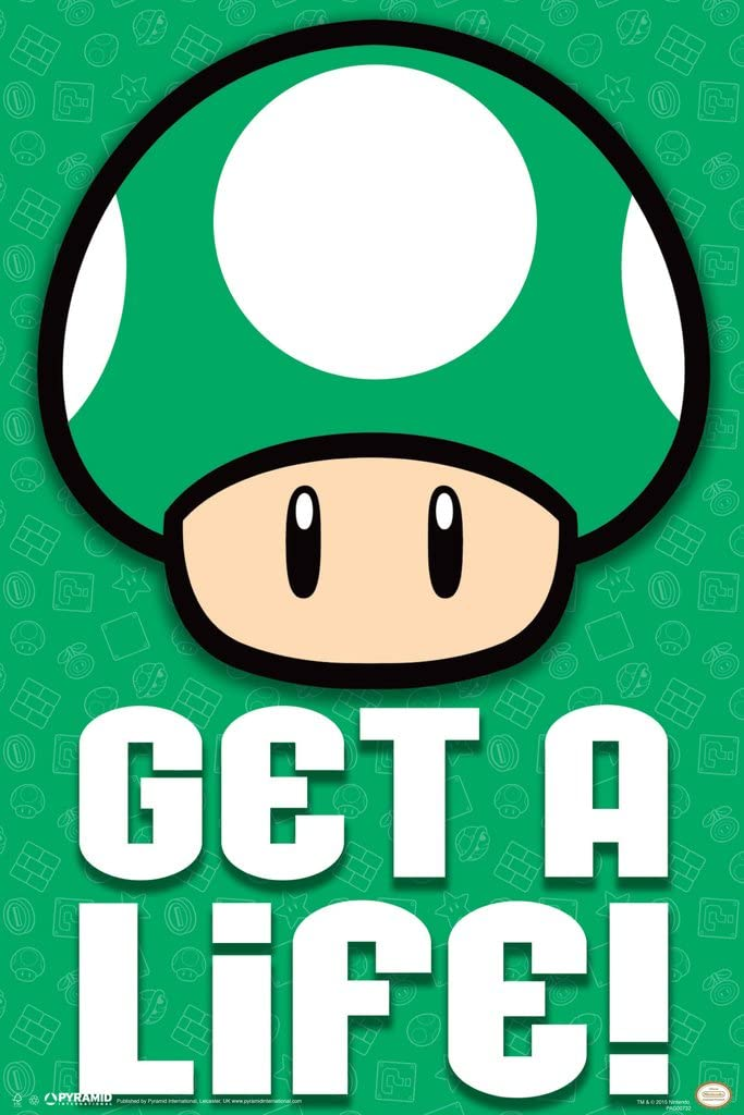 Pyramid America Super Mario Nintendo Video Game Series 1 Up Green Mushroom Get an Extra Life Cool Wall Decor Art Print Poster 12x18