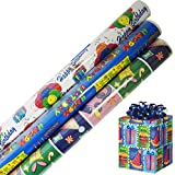 Birthday Gift Wrap in Assorted Bright Styles 30 in x 12 ft in Each Roll, 3 Rolls- Tablesto®