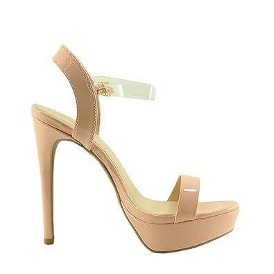 9386f862e2b Qupid Avalon 142X Women's PVC Ankle Strap Patent Platform Heel