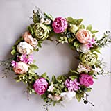Wedding Door Wreath Summer Wreaths Front Door Wreaths,Peony Wreath Everyday Wreath,Farmhouse Wreath,Year Round Wreath