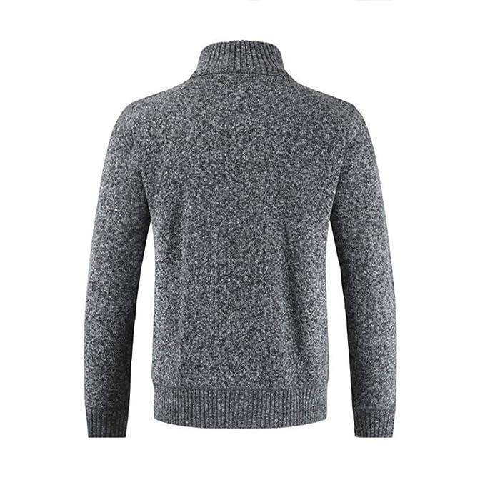 ZODOF Chaqueta de Hombre Mens Winter Zipper Outwear Tops Solid Stand Collar Sweater Cardigan Abrigos M-3XL: Amazon.es: Ropa y accesorios