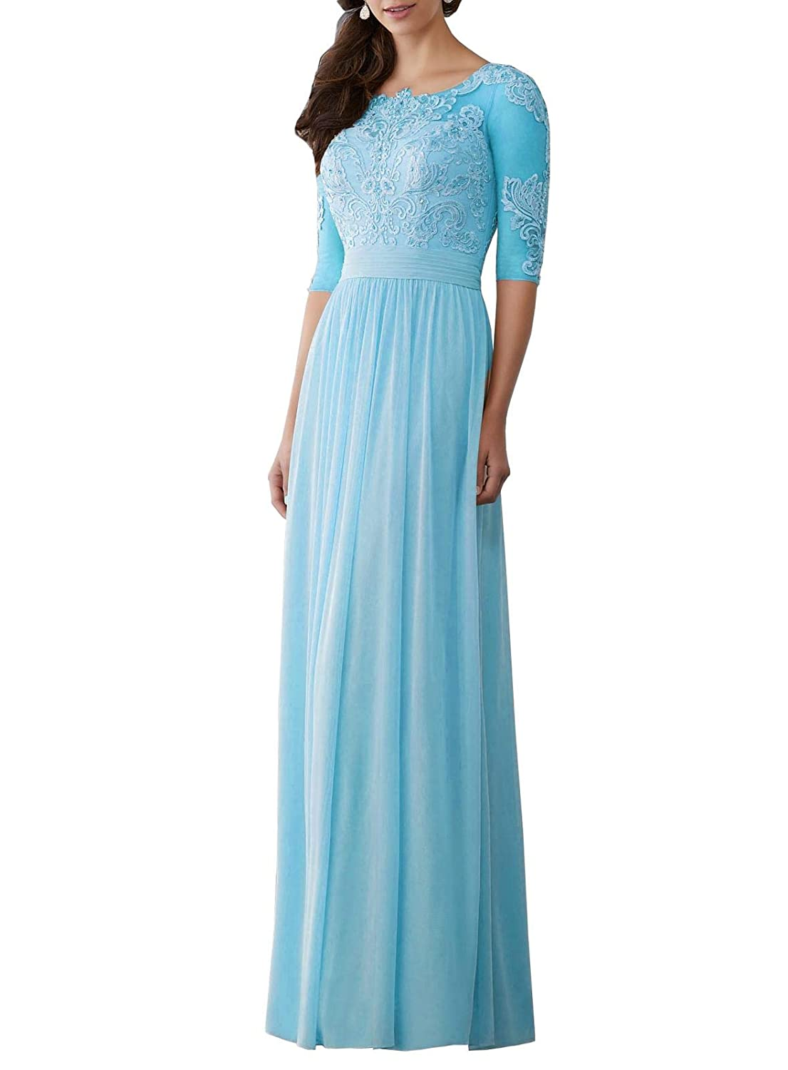 Sky bluee Wanshaqin Women's Aline Illusion Lace Appliques Evening Gown Formal Wedding Party Dress for Brides with Pleated Empire Waist