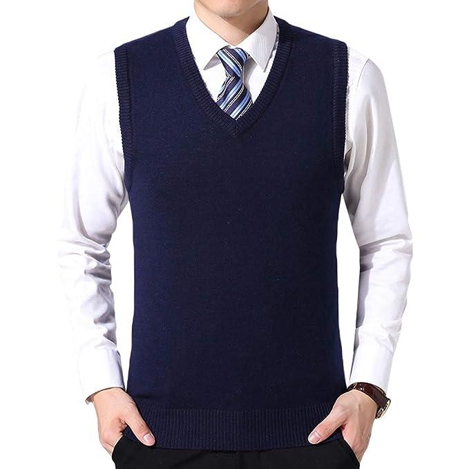 adecuado para hombres/mujeres 2019 profesional disponibilidad en el reino unido Yuanu Hombre Suelto Cómodo Color Sólido Chaleco De Punto, Otoño Negocios  Casual V-Cuello Suéter Sin Mangas