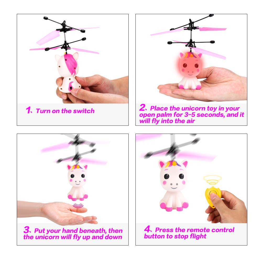 Flying Unicorn Toys Flying Fairy Toys for Girls Flying Ball RC Helicopter with Remote Control Hand Controlled Horse Unicorn Birthday for 3 4 5 6 7 8 9 Year Old Girls Boys Kids by GearRoot (Image #6)