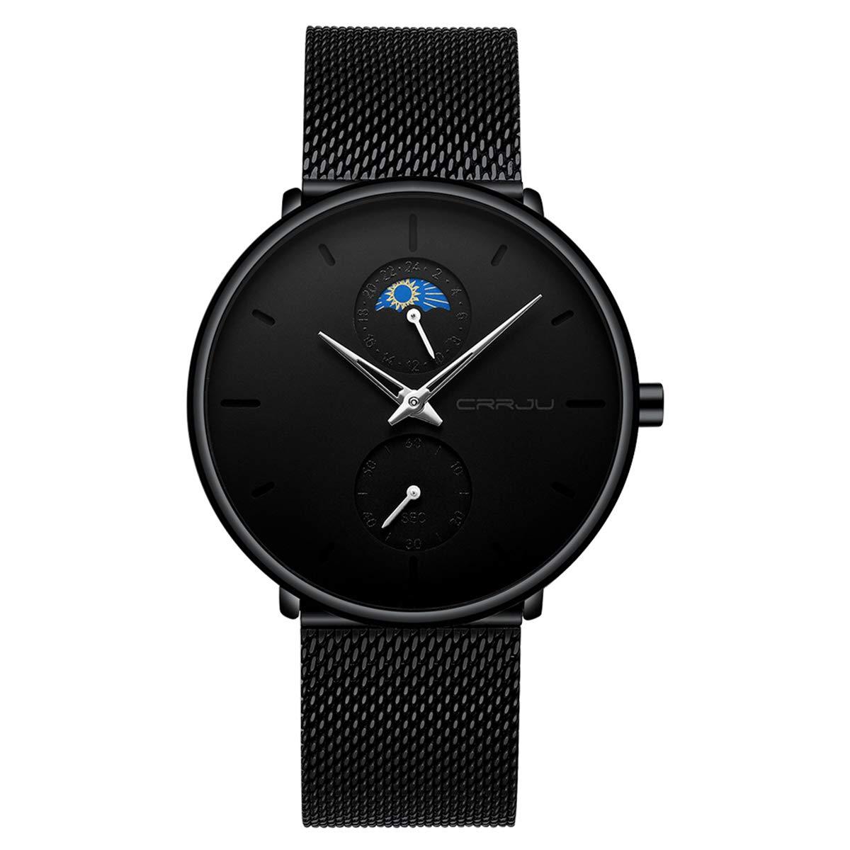 Watches Men's Watch Deep Blue/Black Watch Ultra Thin Wrist Watches for Men Fashion Watch Waterproof Dress Stainless Steel Band