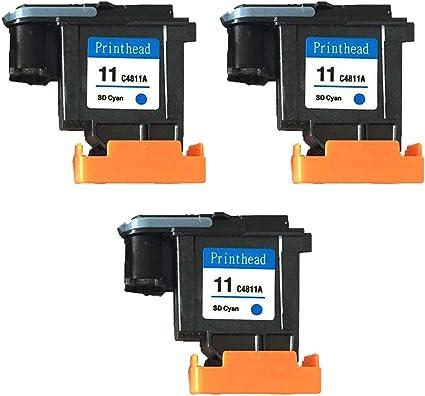 ouguan® 3 x Cyan Compatible Cabezal de impresión HP 11 C4811 A ...