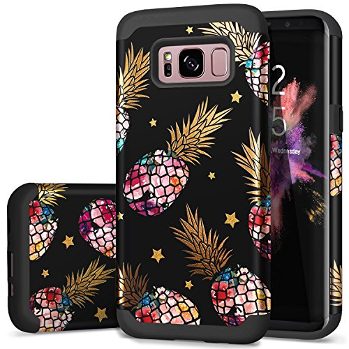 Samsung S8 Cases,S8 Cases with Pineapple,Fingic Floral Pineapple&Star Black Phone Cover 2 in 1 Slim Hybrid Anti-Scratch Protective Case for Women Girls Cover for Samsung Galaxy s8 2017 ONLY,Black