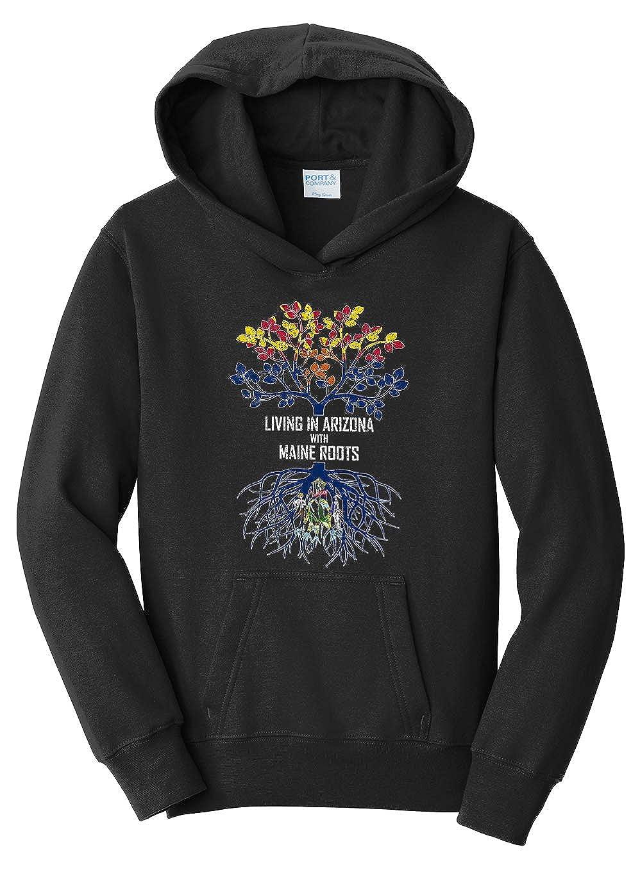 Tenacitee Girls Living in Arizona with Maine Roots Hooded Sweatshirt