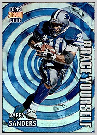 1996 Stadium Club Brace Yourself #BY10 Barry Sanders HOF DETROIT