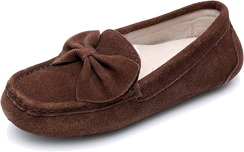 Womens Ladies Non Slip Moccasin Loafer Slippers Shoes Size Bow Cushioned Soft