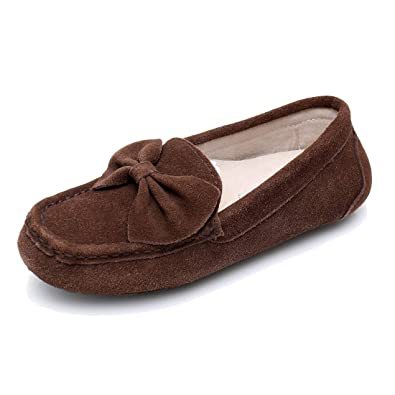8457d1165dd Moccasin Slippers for Women Loafers Casual Flat Suede Shoes Womens Moccasin  Slippers Comfortable Breathable Driving Slippers