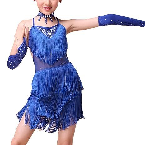 Niñas de Ballet Latino Vestido Borla De Baile De Los Ninos Traje De Dancewear Ropa Azul